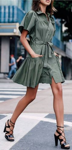 #streetstyle #spring2016 #inspiration | Army Green Little Dress | Vivaluxury