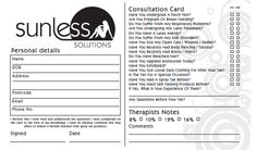 Consultation Cards For Spray Tanning Appointments