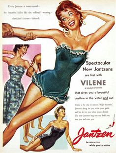 Jantzen ad, 1954 advertising for swimwear Retro Ads, Vintage Advertisements, Vintage Ads, Vintage Trends, Retro Swimwear, Vintage Swimsuits, 1950s Fashion, Vintage Fashion, 1950s Summer Fashion