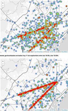 Els piulets geolocalitzats dibuixen la V - vilaweb.cat, 11.09.2014. Entre les quatre de la tarda i les sis la Via Catalana s'ha dibuixat amb claredat en un mapa fet mitjançant els piulets geolocalitzats. Ho ha comprovat un equip d'investigadors de l'Institut de Física Interdisciplinar i Sistemes Complexos, especialitzat en l'anàlisi de dades de xarxes socials.