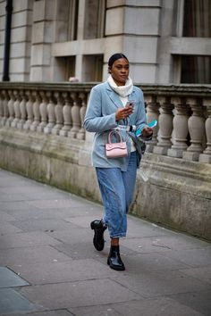 The Best Street Style Looks From London Fashion Week Fall 2020 Autumn Street Style, Street Style Looks, Snakeskin Boots, Satin Jackets, Shades Of White, London Fashion, Leather Pants, How To Wear, Outfits