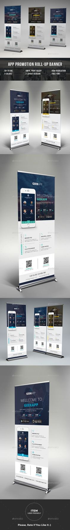 Mobile App Promotion Roll-up Banner Template PSD. Download here: http://graphicriver.net/item/mobile-app-promotion-rollup-banner/14986121?ref=ksioks