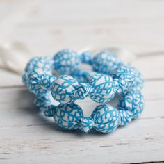 Organic Teething Necklace - Blue Scribbles