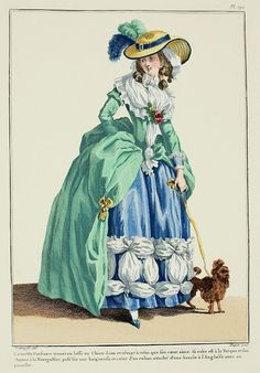 The amiable Constance holding the leash of a Lion-Dog and dreaming on that which her heart loves.  Her gown is à la Turque and her hat is à la Montgolfier, positioned on a baigneuse and belted with a ribbon fastened with an English buckle and with a panache. (1784)