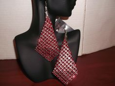Red Mesh Rhinestone Earrings $ 6.00 (+ Shipping $3.50) to Purchase item please email Leonie at leonie@rsgiftsandfashions.com. You will receive an email response within 24hours. All payments are made through paypal.( Order 4 or more Items Free Shipping!). www.rsgiftsandfashions.com