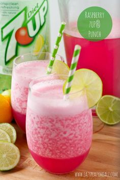 Raspberry 7UP® Punch: So easy to make, delcious, and kid-friendly, the perfect punch for New Year's or a holiday party! #ad - Eazy Peazy Mealz