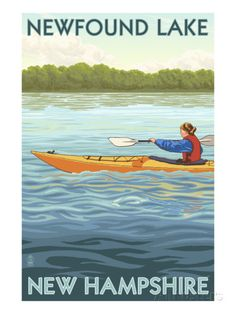 Newfound Lake, New Hampshire - Kayak Scene Posters by Lantern Press at AllPosters.com