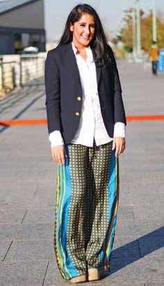 Pair funky pajama pants with a classic blazer