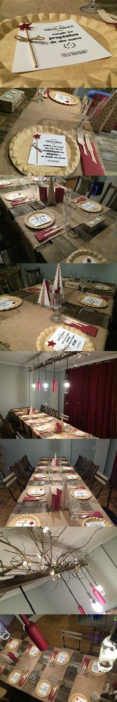Diseño de Cena de Navidad #Menú de Navidad, tarjetas personalizadas, diseño de #lampara con #botellas, #DIY, diseño de la mesa y la decoración #lowcost, #elegante https://www.facebook.com/lucesdebengaladesign