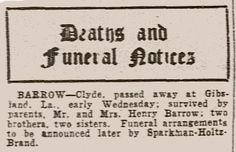 Clyde Barrow's obituary