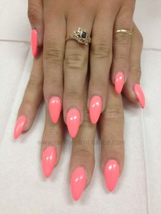 Details of hot pink almond nails shape 49 Get Nails, Fancy Nails, Trendy Nails, Uñas Color Coral, Uñas Diy, Shellac Nail Colors, Nail Colour, Uñas Fashion, Pointy Nails