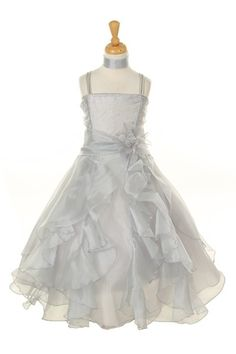 shimmering-organza-pageant-dress-with-sparkling-stones-in-silver childrensdresssho. Silver ruffles organza pageant dress with sparkling stones Pagent Dresses, Bridesmaid Dresses, Cheap Flower Girl Dresses, Girls Dresses, Flower Girls, Pretty Dresses, Long Silver Dress, Fuchsia Dress, Gold Dress