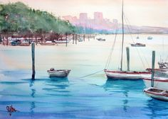 """ARTFINDER: Warm Evening with Boats by Henry Jones - This calm scene is another study of a work by watercolour master, Joseph Zbukvic. I like his fresh confident style - """"Indicate, don't state"""". If you're going..."""