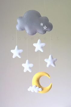 Baby-mobile Mobile Mond Sterne Baby Mobile von lovefeltmobiles