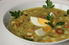 The kitchen is always open .: Potato soup with eggs and sausage (Slovak) My Favorite Food, Favorite Recipes, Potato Soup, Cheeseburger Chowder, Thai Red Curry, Sausage, Food And Drink, Potatoes, Ethnic Recipes