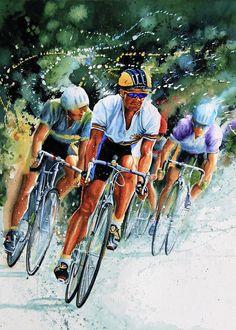 Shop online for canvas art prints of Tour de France cycling action painting by sports artist Hanne Lore Koehler direct from Koehler Art Studio Gallery. Sports Painting, Bicycle Painting, France Art, Bicycle Race, Cycling Art, Bike Art, Sports Art, Art Blog, Canvas Art Prints