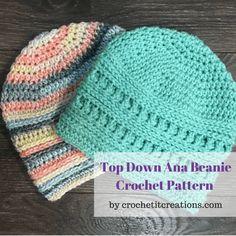 Top Down Ana Beanie Crochet Pattern - Crochet it Creations