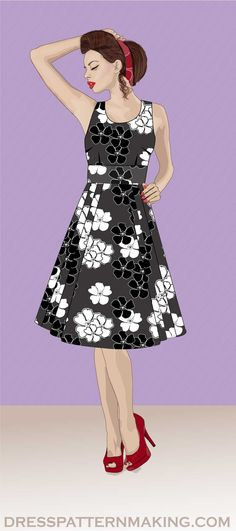 View All Dresses (Instructions) - Dress Patternmaking Skirt Images, Make Your Own, How To Make, Flare Skirt, Step By Step Instructions, Pleated Skirt, Collars, Sewing Patterns, Theory