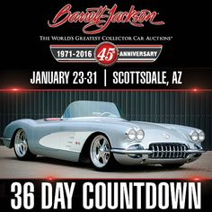 This handsome 1960 Chevrolet Corvette Custom Topless Roadster won the coveted Builders Choice Award at the Fall 2013 @Goodguys event in Scottsdale. Featuring a Chevrolet 350ci engine from a late-model Corvette and built over a full aftermarket Progressive frame, this immaculate custom is headed for the 2016 Scottsdale Auction! Day Countdown, Barrett Jackson Auction, Corvettes, Collector Cars, Chevrolet Corvette, The World's Greatest, Mustang, Classic Cars, Engine