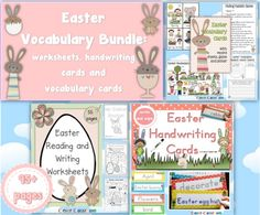 Easter Vocabulary BUNDLE Worksheets, Vocabulary Cards and Handwriting Cards PDF Your Easter center activities are all ready to go with this huge E. Easter Activities, Autumn Activities, Craft Activities For Kids, Kids Crafts, Handwriting Sheets, Describing Words, April Easter, Writing Worksheets, Easter Worksheets