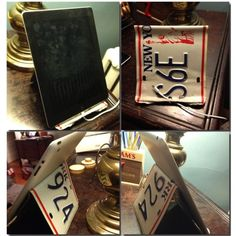 Prototype of an iPad stand made from an old license plate. #sixthboroughstudios #upcycle #repurpose
