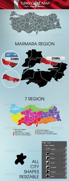turkey map and regions graphicriver psd resizable 300 dpi cmyk fonts