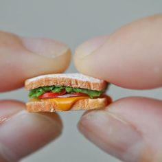 Sandwich for lunch!but I wonder if I can feel full? Miniature Crafts, Miniature Food, Miniature Dolls, Polymer Clay Miniatures, Polymer Clay Charms, Dollhouse Miniatures, Barbie Food, Doll Food, Tiny Food