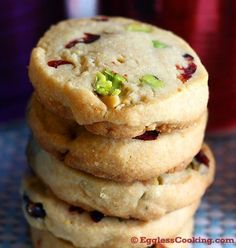Cranberry Pistachios Shortbread Cookies- easy and delicious  what more could you want?