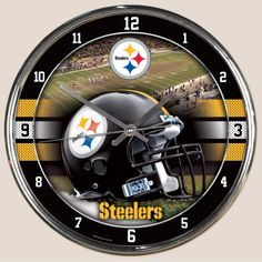 """Pittsburgh Steelers 12"""" Chrome Clock. Keep track of time with your favorite team display clock. This clock has vivid colors with the field as its backdrop along with the team helmet displayed prominently. This makes for a great gift or your own self indulgence."""