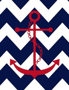 Navy blue and white chevron wallpaper with red anchor