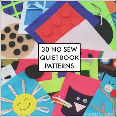 30 easy no sew quiet book patterns from And Next Comes L. So many good page designs here