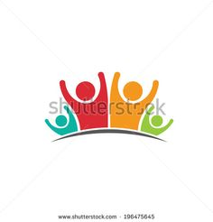 Teamwork Family Logo Four members image. Concept of parentage, happiness, dynasty