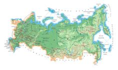 Physical map of Russia. Russia physical map.