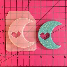 Kawaii heart moon  flexible plastic resin mold