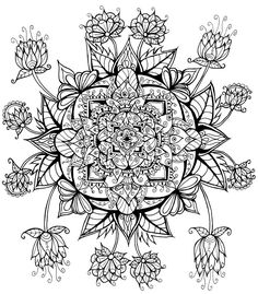 http://ColoringToolkit.com --> Floral Mandala by WelshPixie --> If you're looking for the best coloring books and supplies including drawing markers, colored pencils, gel pens and watercolors, please visit our website shown above. Color... Relax... Chill.