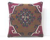 turkish pillow 18x18 oversized floor pillow kilim pillow chair cushion cover DECOLIC kilim throw pillow kilim pillow set burlap pillow 16258