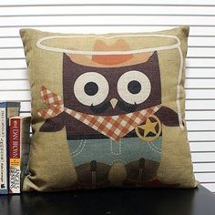 "PCZ040 Cute Animal Cowboy Owl Pillow Case Cushion Decor Cover Square 18"" 45cm"