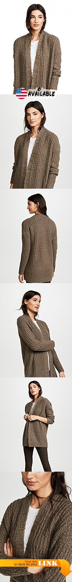 B075XNYCZD : Vince Women's Waffle Stitch Cardigan Mud Large. Chunky waffle knit. 68% wool/22% polyamide/10% cashmere. Hand wash or dry clean. Width 28.25in / 72cm from shoulder