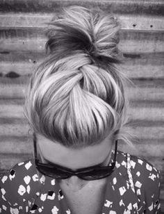 Braid and a bun. Simple and chic. No way my hair is thick enough for this, but looks cool.