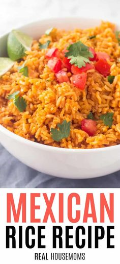 Easy, homemade Mexican Rice Recipe is the perfect side dish whenever you're making Mexican food. So delicious & just like your favorite Mexican restaurant! #Realhousemoms #Mexicanrice #Easyrecipe
