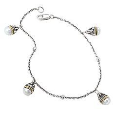 #730292. Oxidized s/s & 18kt y/g bracelet w/ a station of 4 freshwater pearls. Contact us for more information @ http://carmouchejewelerslaplace.com/