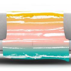 Painted Stripes by Anneline Sophia Fleece Throw Blanket