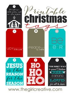 FREE Printable Christmas Tags Files are PDF Download includes one sheet of 6 tags for each design - The Girl Creative