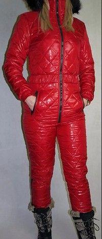 shiny,red skioveralls