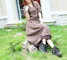 Tiered Coffer Evening Dress Gown/ Polka Dots Long by camelliatune, $79.00