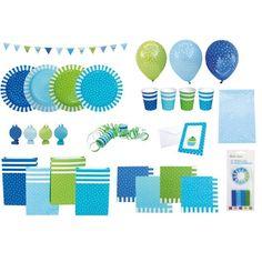 Colorato set di addobbi e decorazioni di carta a pois per una festa di compleanno!