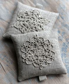 ⌖ Linen & Lace Luxuries ⌖ linen sachets with crocheted lace