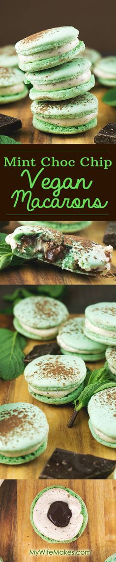 Vegan Treats // Simple + easy // Healthy + Raw // Recipes // Vegan Desserts + Snacks // Mint Chocolate Chip Vegan Macarons using Aquafaba (Chickpea Brine). Sweet, Minty, full of Chocolate and 100% delicious. Also a healthier alternative to 'normal' non-vegan macarons.