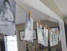 A birthday garland made up of old photographs is a great decorating idea for a 50th birthday.  See more 50th birthday party decorations and party ideas at http://www.one-stop-party-ideas.com