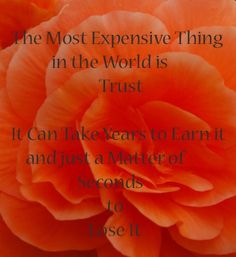 The most expensive thing in the world is trust; it can take years to earn it and just a matter of seconds to lose it